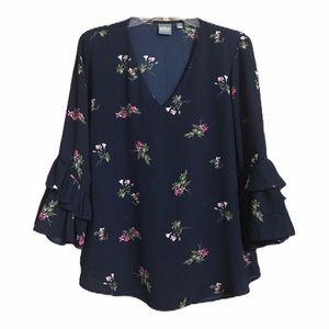 New York & Company Tops - NY&Co. Top Navy Floral Print Boho blouse Medium